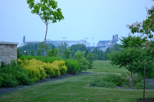 Outside garden perimeter looking on to Beaver Stadium