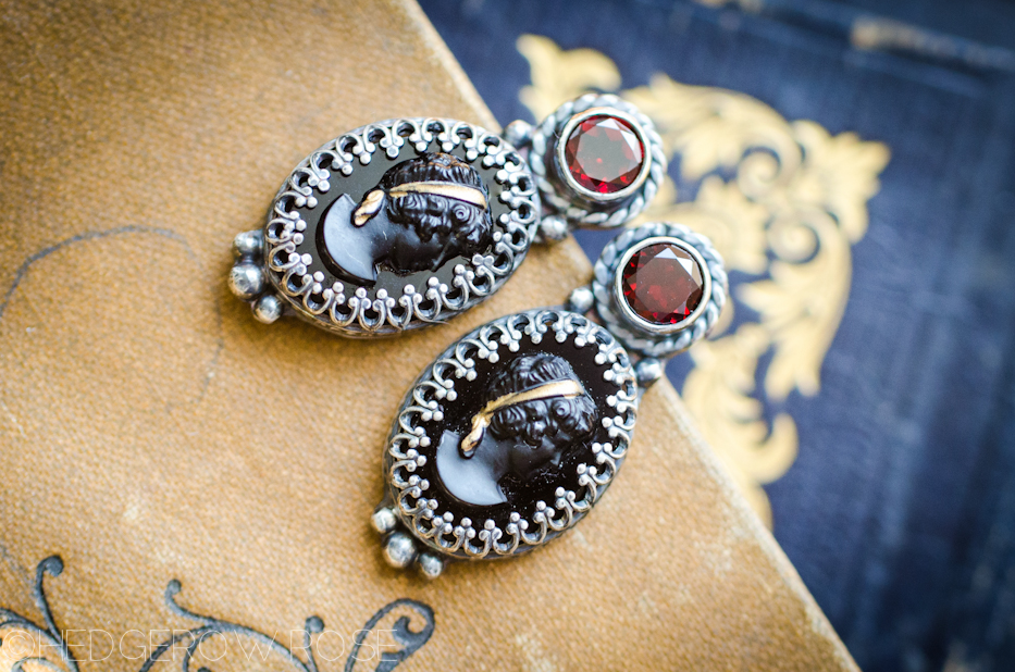 Downton Abbey Inspired Cameo and Garnet Earrings | Hedgerow Rose