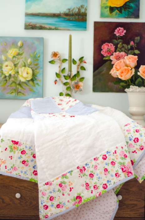 A very rosy patchwork quilt