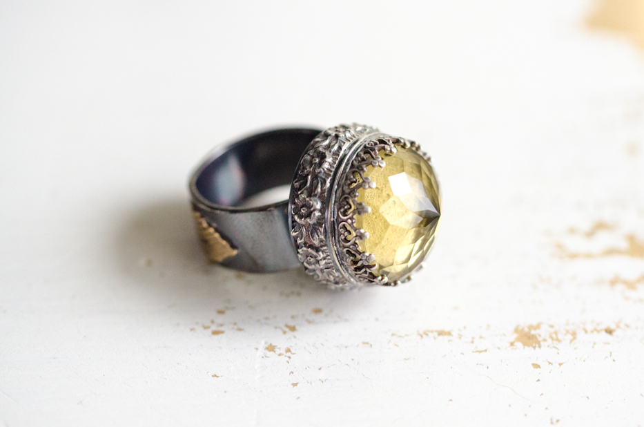 Lemon Quartz Ring of Roses Ring