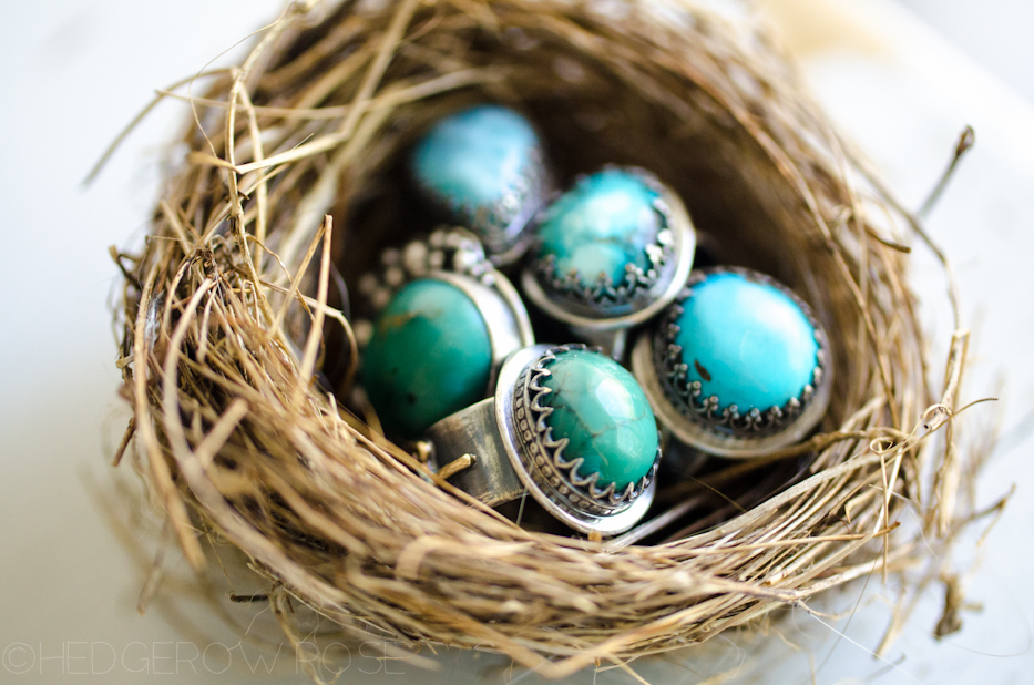 Turquoise Songbird Rings 2 via Hedgerow Rose