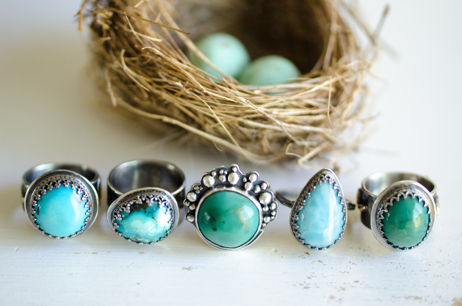 Turquoise Songbird Rings 4 via Hedgerow Rose