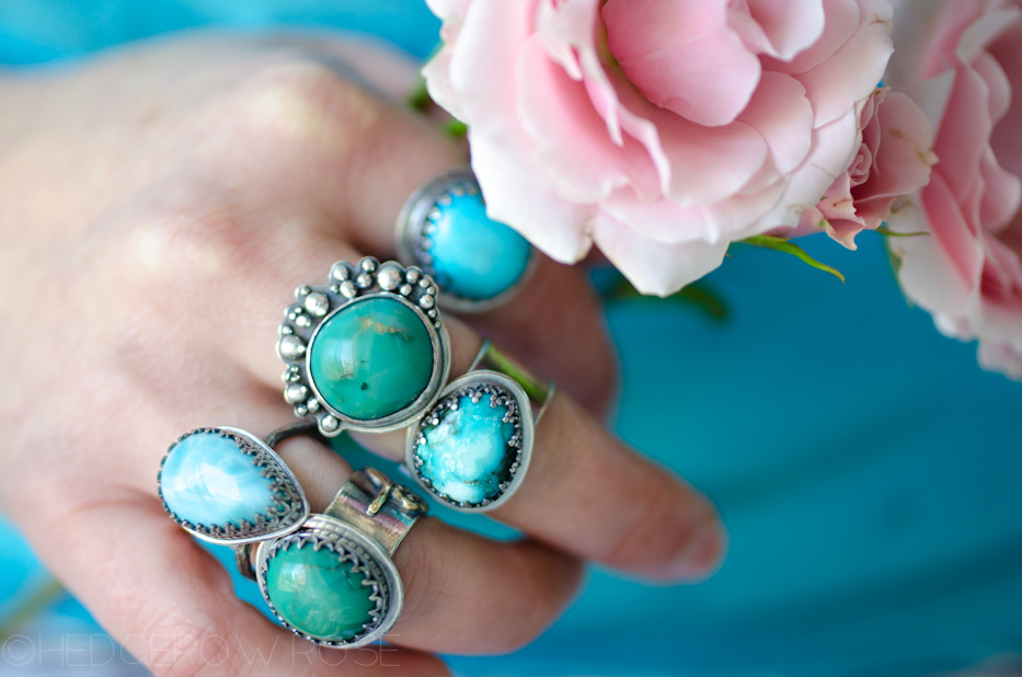 Turquoise Songbird Rings 8 via Hedgerow Rose
