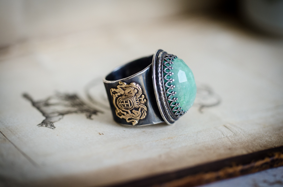 Lion and Unicorn Emerald Ring | by Hedgerow Rose