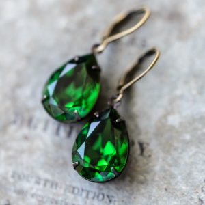 Moss Green Estate Earrings via Hedgerow Rose