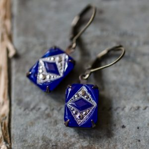 Art Deco Vintage Rhinestone Earrings - Cobalt Blue 1