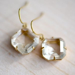 Audrey Earrings Clear in Natural Brass 1