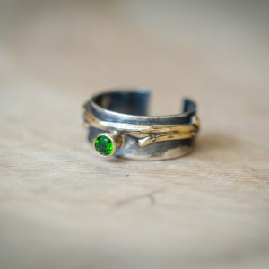 Chrome Diopside Twig Ring in Sterling Silver and 14kt Gold 1