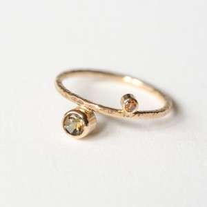 Cognac Diamond and Andalusite Ring in 14kt Gold 1