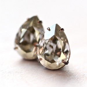 Crystal Stud Earrings Grey Diamond Petite