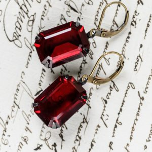 Estate Earrings Siam Ruby Emerald Cut