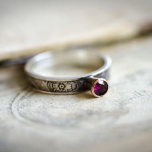 Fair Trade Garnet and Floral Ring 1