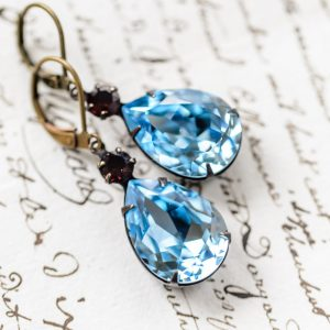 "Fancy ""Estate"" Earrings - Aquamarine and Siam Ruby 1"