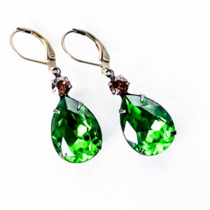 "Fancy ""Estate"" Earrings - Fern Green and Smoke Topaz 1"