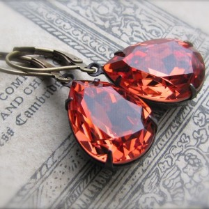 Padparadscha Estate Earrings 1