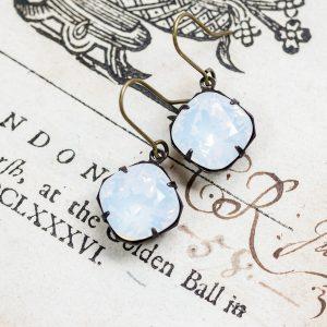 Petite Estate Earrings, Moonstone-2