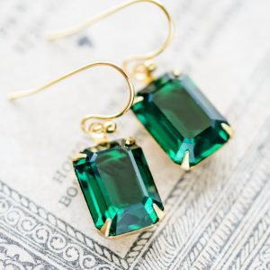 Petite Estate Style Earrings - Emerald in Gold-Plate 1