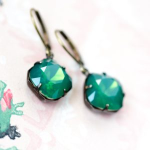 Petite Estate Style Earrings Palace Green Opal 1