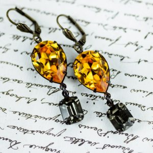 Regency Earrings Topaz and Black Diamond 1