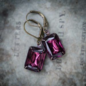 petite estate earrings, lilac