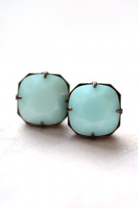 Estate Style Stud Earrings in Mint Green