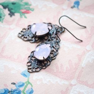 Rose water opal earrings