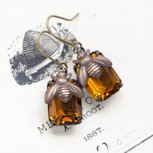 Honeybee Jeweled Earrings-3
