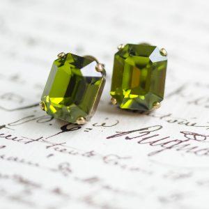 Peridot Crystal Stud Earrings 2