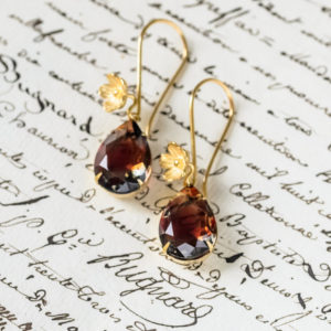 Graphite and Ruby Gold Vermeil Earrings 1