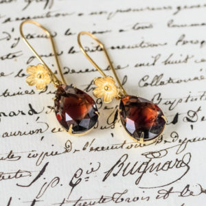 Graphite and Ruby Gold Vermeil Earrings 2