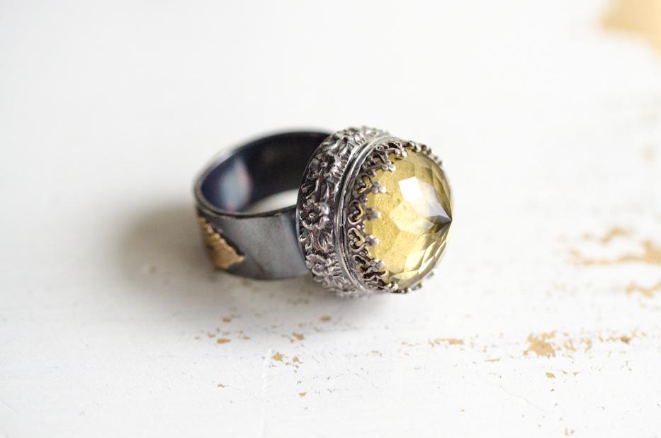 Lemon Quartz Ring of Roses Ring