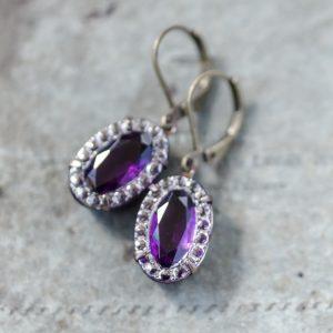 Art Deco Vintage Rhinestone Earrings - Amethyst 1