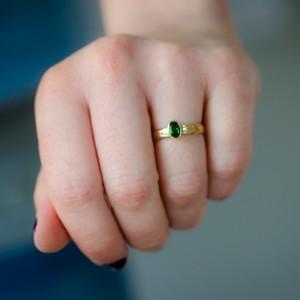 Chrome Diopside Fleur de Lis Engagement Ring - 7