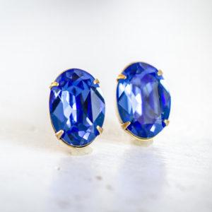 Crystal Stud Earrings Sapphire Petite 2