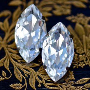 Crystal Stud Earrings - White Diamond - Extra Large Marquise