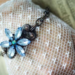 """""""Estate"""" Bracelet - Vintage Floral and Rhinestone 1"""