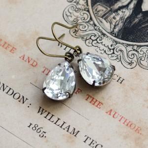 Petite Estate-Style Earrings - White Diamond