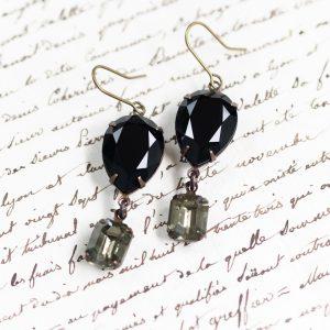 Regency Earrings Noir and Black Diamond-2