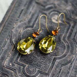 Regency Earrings Smoke Topaz and Khaki Green-2