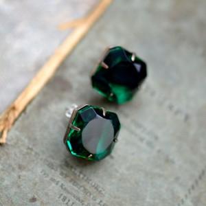 Rhinestone Stud Earrings - Vintage Emerald & Onyx Givre