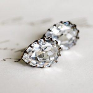 tud Earrings - White Diamond - Large Pear 2