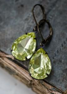 estate earrings, lemon drop