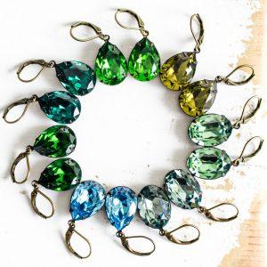 Original Estate Earrings - Shades of Green 2