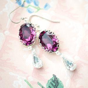 Amethyst and White Diamond Crystal Regency Earrings
