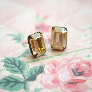 Petite Champagne Diamond Crystal Stud Earrings 2